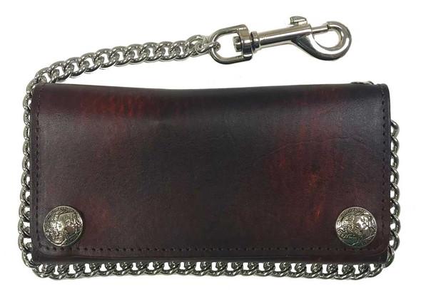 Biker Men's Buffalo Nickel Snap Antique Genuine Leather Chain Wallet, Made in US - Wisconsin Harley-Davidson