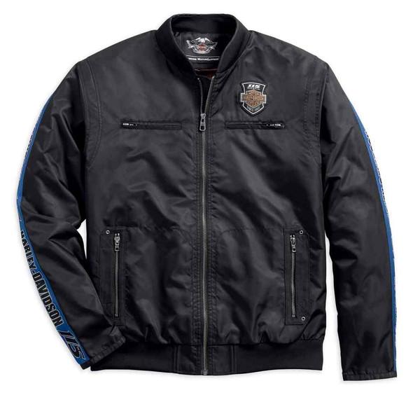 Harley-Davidson Men's 115th Anniversary Nylon Bomber Jacket, Black 98585-18VM - Wisconsin Harley-Davidson