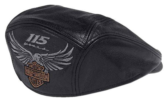 Harley-Davidson Men's 115th Anniversary Leather Ivy Cap, Black 99417-18VM - Wisconsin Harley-Davidson