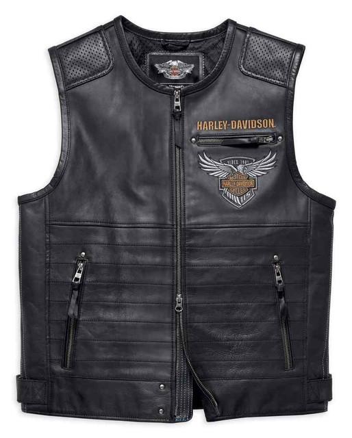 Harley-Davidson Men's 115th Anniversary Limited Edition Leather Vest 98001-18VM - Wisconsin Harley-Davidson