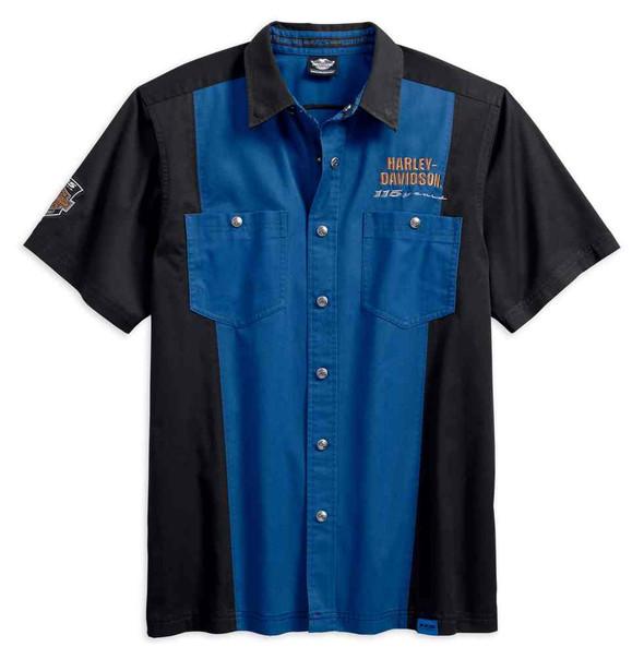 Harley-Davidson Men's 115th Anniversary Short Sleeve Colorblock Shirt 99017-18VM - Wisconsin Harley-Davidson