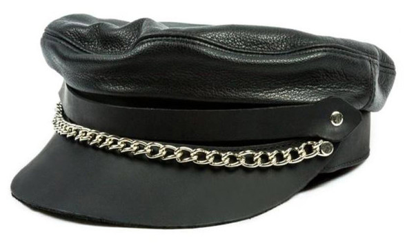 Mascorro Men's Flat Top Genuine Leather Biker Cap with Chain, Black Leather C58 - Wisconsin Harley-Davidson