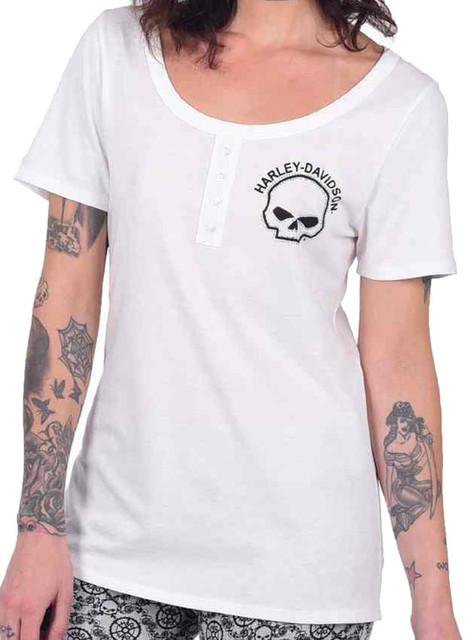 Harley-Davidson Women's Classic Willie G Short Sleeve Lounge Shirt, White - Wisconsin Harley-Davidson