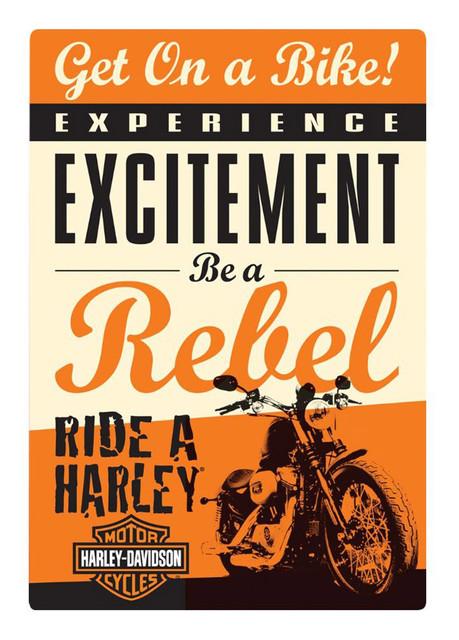 Harley-Davidson Get on a Bike Rebel Embossed Tin Sign, 10.5 x 15 inches 2010411 - Wisconsin Harley-Davidson