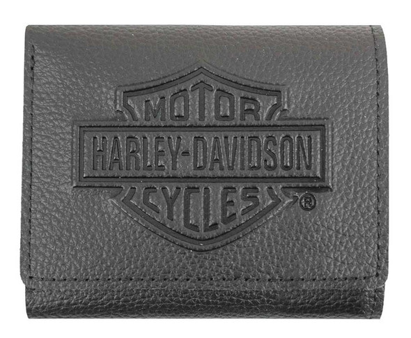 Harley-Davidson Men's Embossed B&S Logo Leather Tri-Fold Wallet XML3571-BLK - Wisconsin Harley-Davidson