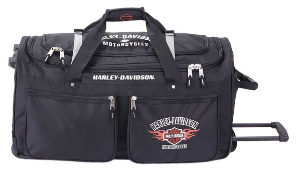 "Harley-Davidson 21"" Wheeling 15-Pocket Carry-On Duffel Bag, Black 99521-BLACK - Wisconsin Harley-Davidson"