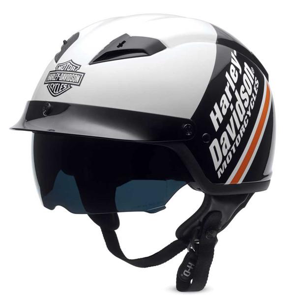Harley-Davidson Men's Argent B&S Half Helmet w/ Sun Shield, White 97358-16VM - Wisconsin Harley-Davidson