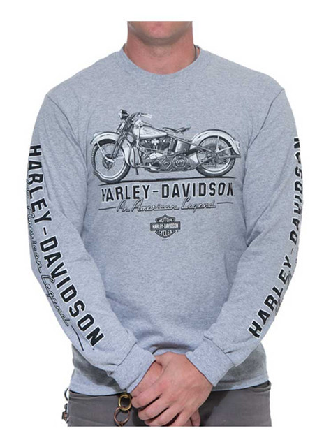 Harley-Davidson Men's American Legend Long Sleeve Crew Shirt, Heather Gray - Wisconsin Harley-Davidson