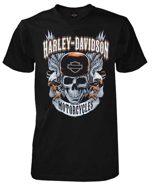 Harley-Davidson Men's Dueling Eagles Graphic Short Sleeve T-Shirt, Solid Black - Wisconsin Harley-Davidson
