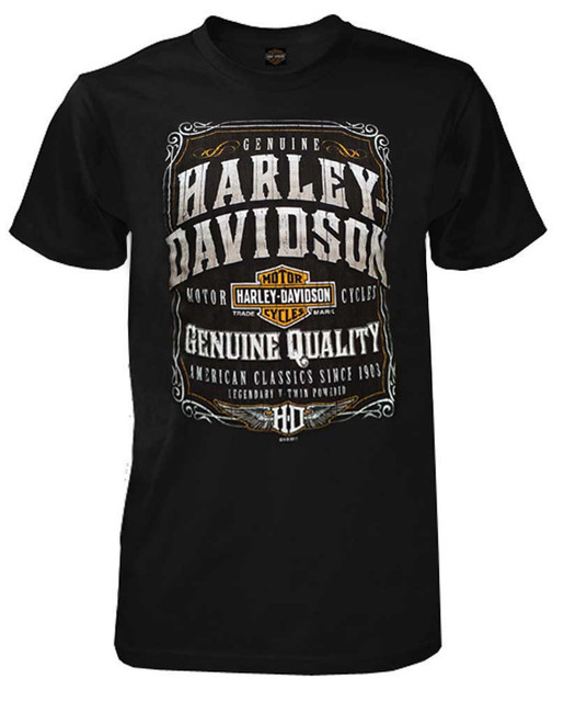 Harley-Davidson Men's Distressed Wanted Sign Short Sleeve T-Shirt, Black - Wisconsin Harley-Davidson