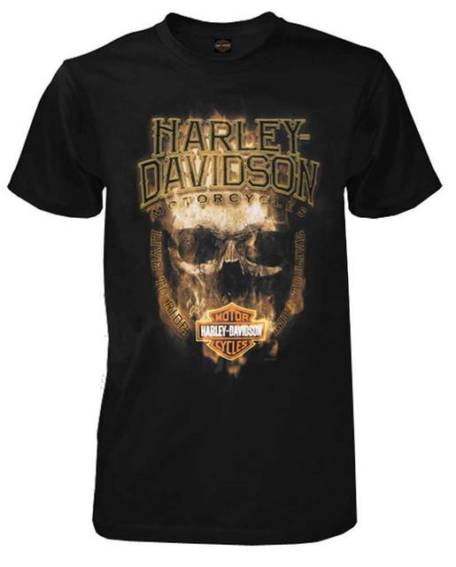 Harley-Davidson Men's Blazed Skull All-Cotton Short Sleeve T-Shirt, Black - Wisconsin Harley-Davidson