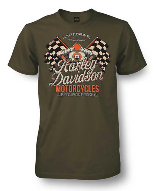 Harley-Davidson Men's Champion Racing Short Sleeve T-Shirt, Fatigue Green - Wisconsin Harley-Davidson