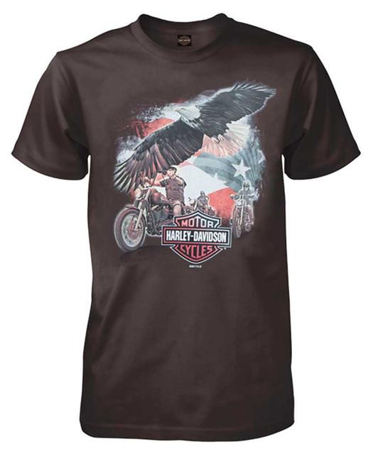 Harley-Davidson Men's Soar Along All-Cotton Short Sleeve T-Shirt, Dark Brown - Wisconsin Harley-Davidson