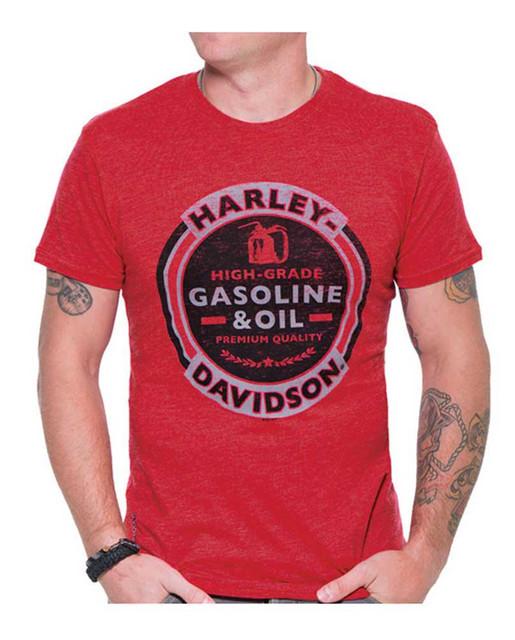 Harley-Davidson Men's Gas & Oil H-D Short Sleeve Crew Neck Tee, Vintage Red - Wisconsin Harley-Davidson