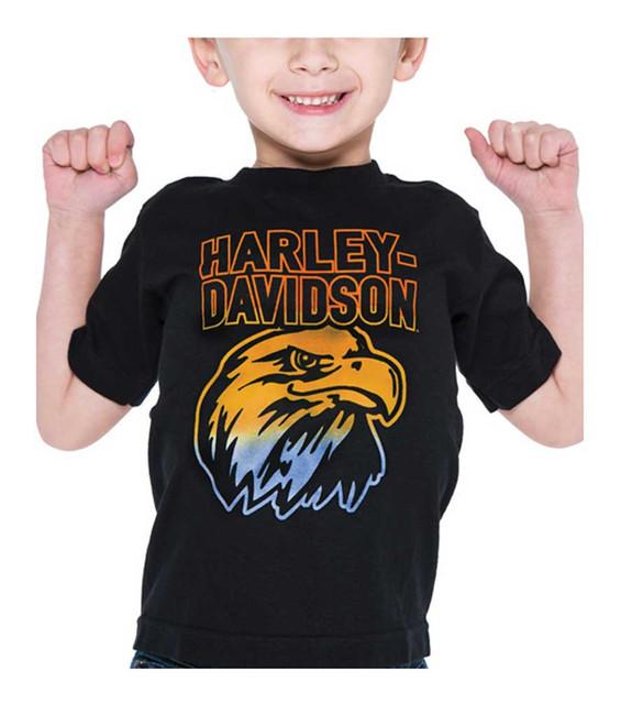 Harley-Davidson Little Boys' Swoop Thermo Print Short Sleeve Toddler Tee, Black - Wisconsin Harley-Davidson