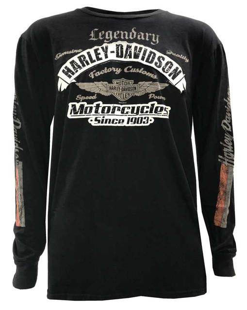 Harley-Davidson Men's Express Distressed Premium Long Sleeve Shirt, Matte Black - Wisconsin Harley-Davidson