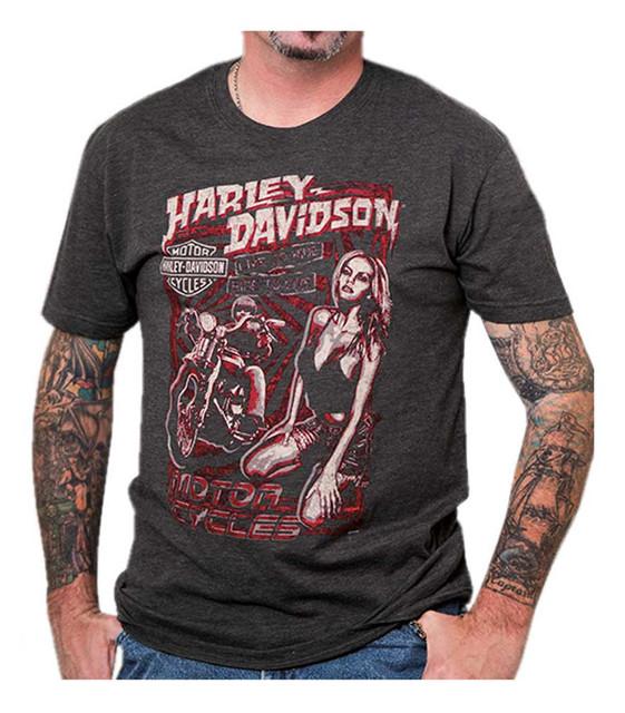 Harley-Davidson Men's Vintage Poster Crew Neck Short Sleeve T-Shirt, Charcoal - Wisconsin Harley-Davidson