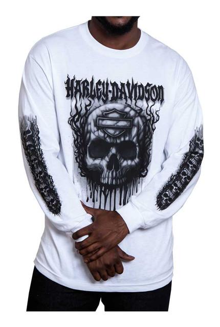 Harley-Davidson Men's Grudge Skull Long Sleeve Crew Neck Shirt, Solid White - Wisconsin Harley-Davidson