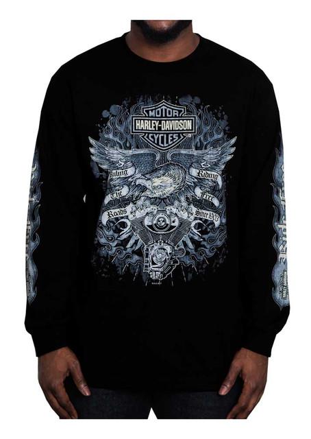 Harley-Davidson Men's Gauntlet Eagle Long Sleeve Crew Neck Shirt, Black - Wisconsin Harley-Davidson