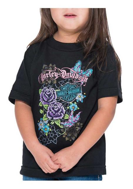 Harley-Davidson Little Girls' Glitter Butterfly Short Sleeve Toddler Tee, Black - Wisconsin Harley-Davidson