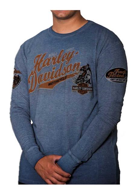 Harley-Davidson Men's High Roller Premium Long Sleeve Shirt, Denim Blue Wash - Wisconsin Harley-Davidson