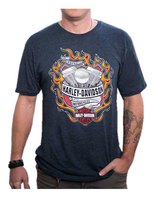Harley-Davidson Men's Hot Flaming Engine Short Sleeve T-Shirt, Midnight Navy - Wisconsin Harley-Davidson