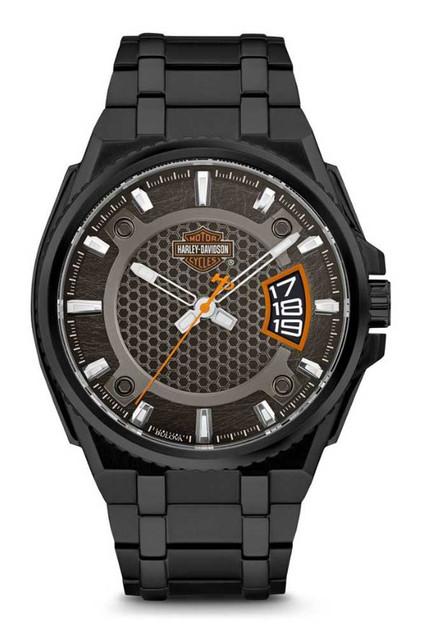 Harley-Davidson Men's B&S Dimensional Stainless Steel Watch, Black 78B151 - Wisconsin Harley-Davidson