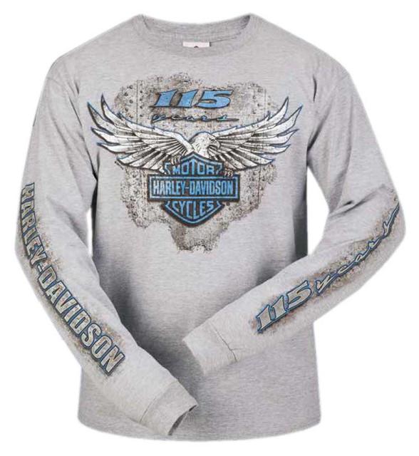 Harley-Davidson Men's 115th Anniversary Metal Eagle Long Sleeve Shirt, Gray - Wisconsin Harley-Davidson