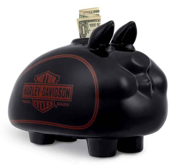 Harley-Davidson Large Ceramic Bar & Shield Hog Bank, Shiny Black 96906-18V - Wisconsin Harley-Davidson