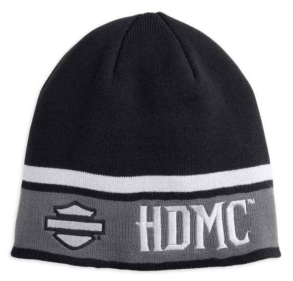 Harley-Davidson Men's HDMC Logo Striped Knit Beanie Hat, Black 97798-18VM - Wisconsin Harley-Davidson