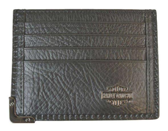 Harley-Davidson Men's Gunmetal Leather Front Pocket Wallet, Black GM6563L-BLK - Wisconsin Harley-Davidson