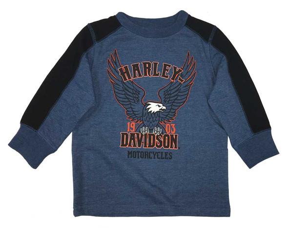 Harley-Davidson Big Boys' Jersey Pullover Long Sleeve Tee Shirt, Blue 6594711 - Wisconsin Harley-Davidson