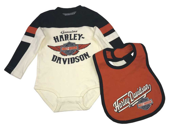 Harley-Davidson Baby Boys' Long Sleeve Winged B&S Newborn Creeper w/ Bib 3054701 - Wisconsin Harley-Davidson