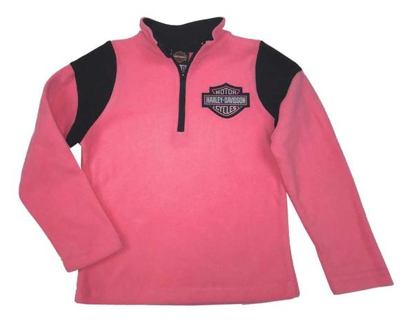 Harley-Davidson Big Girls' Bar & Shield Polar Fleece 1/4 Zip Jacket Pink 6544717 - Wisconsin Harley-Davidson