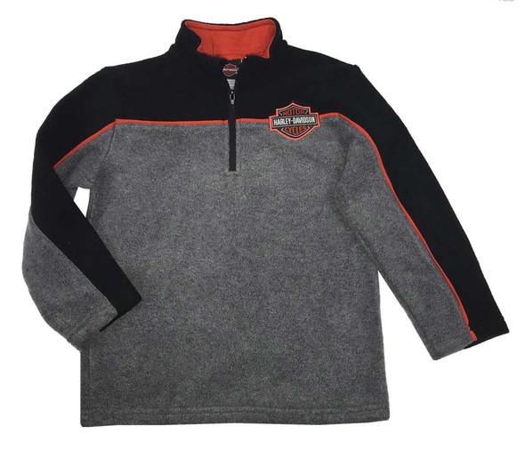 Harley-Davidson Big Boys' Bar & Shield Polar Fleece 1/4 Zip Jacket Gray 6594715 - Wisconsin Harley-Davidson