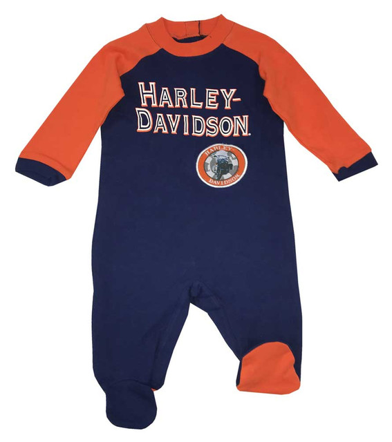 Harley-Davidson Baby Boys' Interlock Footed Newborn Coverall with Patch 3054507 - Wisconsin Harley-Davidson