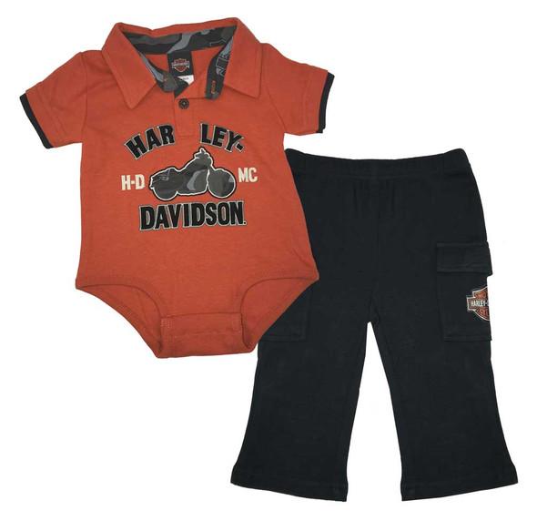 Harley-Davidson Baby Boys' 2 Piece Interlock Creeper & Woven Pant Set 2053511 - Wisconsin Harley-Davidson