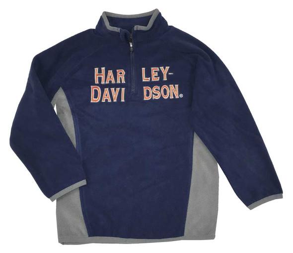 Harley-Davidson Little Boys' Embroidered Polar Fleece 1/2 Zip Jacket 6584521 - Wisconsin Harley-Davidson