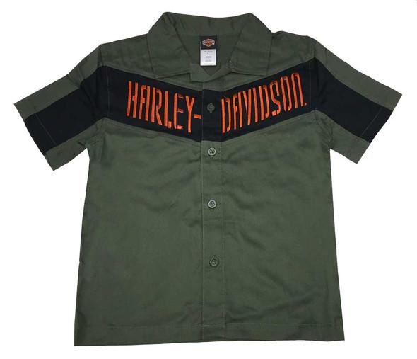 Harley-Davidson Big Boys' Interlock Twill Short Sleeve Shirt, Green 1093519 - Wisconsin Harley-Davidson