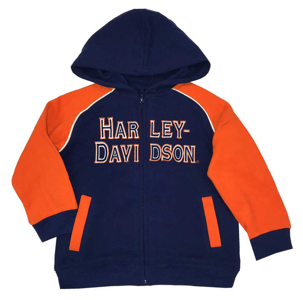 Harley-Davidson Baby Boys Fleece Embroidered Newborn Zippered Hoody, Gry 6554509 - Wisconsin Harley-Davidson