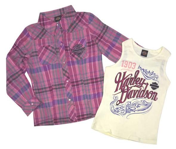 Harley-Davidson Little Girls' Glitter Tank & Long Sleeve Plaid Shirt Set 1033565 - Wisconsin Harley-Davidson
