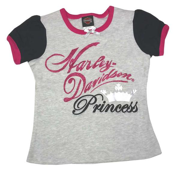 Harley-Davidson Infant Girls' Interlock Puff Sleeve Tee, Gray & Pink 1014531 - Wisconsin Harley-Davidson