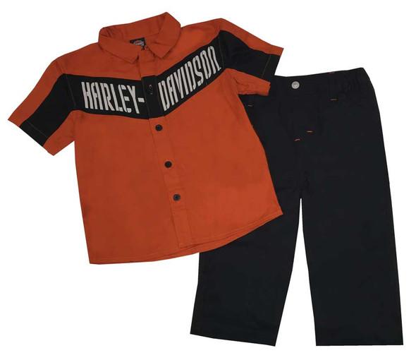 Harley-Davidson Baby Boys' 2 Piece Twill Shop Shirt  & Woven Pant Set 2063515 - Wisconsin Harley-Davidson