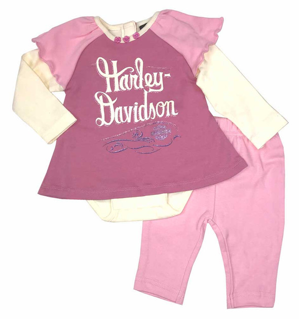 Harley-Davidson Baby Girls' 2 Piece Interlock Newborn Creeper & Pant Set 2003553 - Wisconsin Harley-Davidson