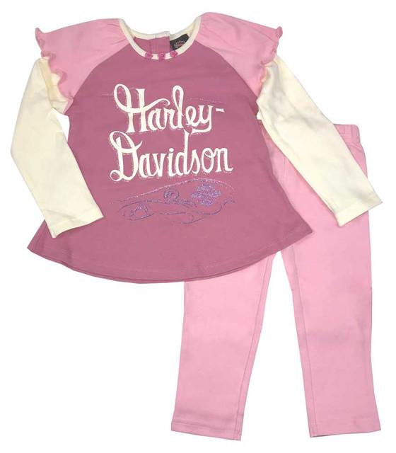 Harley-Davidson Little Girls' 2 Piece Interlock Toddler Shirt & Pant Set 2023553 - Wisconsin Harley-Davidson