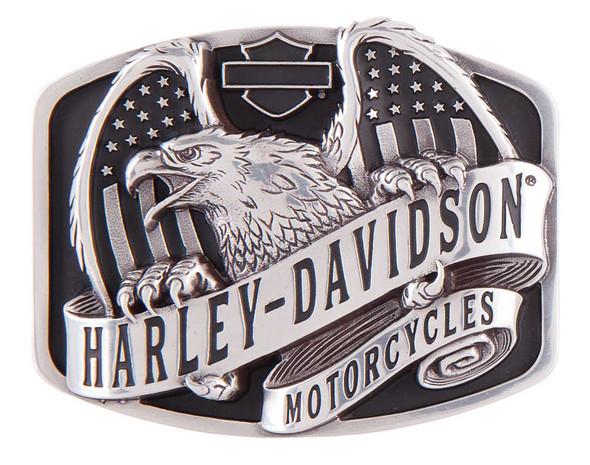 Harley-Davidson Men's Wings Over America Belt Buckle, Antique Silver HDMBU11402 - Wisconsin Harley-Davidson