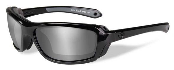 Harley-Davidson Mens Rage PPZ Silver Flash Sunglasses, Gloss Black Frame HDRGE07 - Wisconsin Harley-Davidson