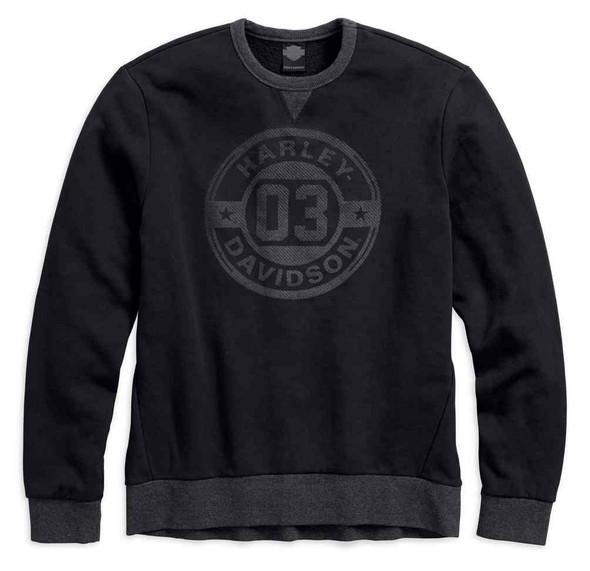 Harley-Davidson Men's Circle 03 Pullover Slim Fit Sweatshirt, Black 96432-18VM - Wisconsin Harley-Davidson