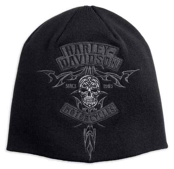 Harley-Davidson Men's Embroidered Skull Knit Beanie Hat, Black 97810-18VM - Wisconsin Harley-Davidson