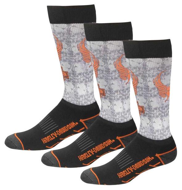 Harley-Davidson Men's Cushioned Performance Wool Riding Socks, 3 Pairs - Gray - Wisconsin Harley-Davidson